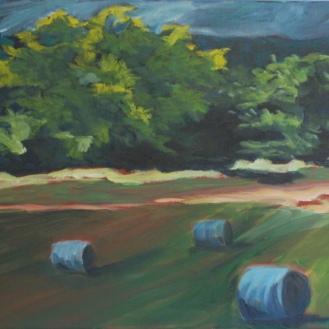 "Driftwood Bales (acrylic) 24"" x 12"""