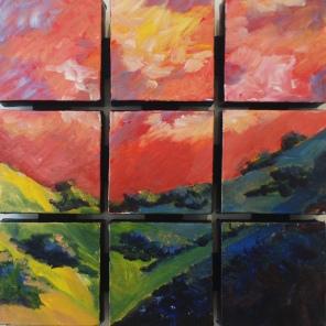 "Fractured Landscape (acrylic) 12"" x 12"""